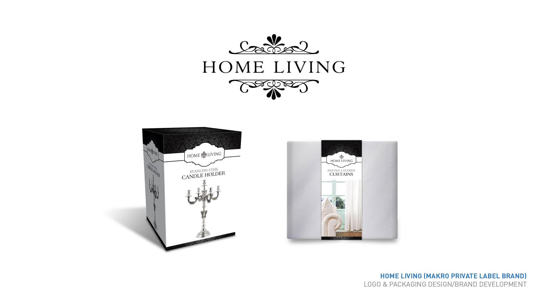Home Living packaging and logo design
